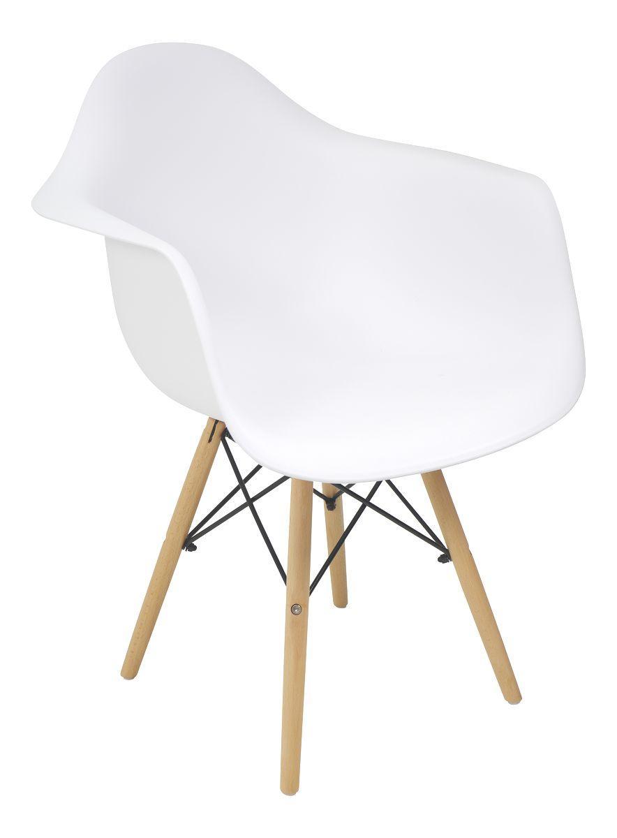 Krzesło Skandynawskie Białe Głębokie Z Nogami Drewnianymi