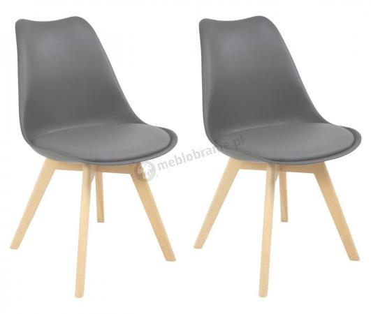 W Ultra Dwa krzesła skandynawskie szare z nogami drewnianymi i poduszką TK05
