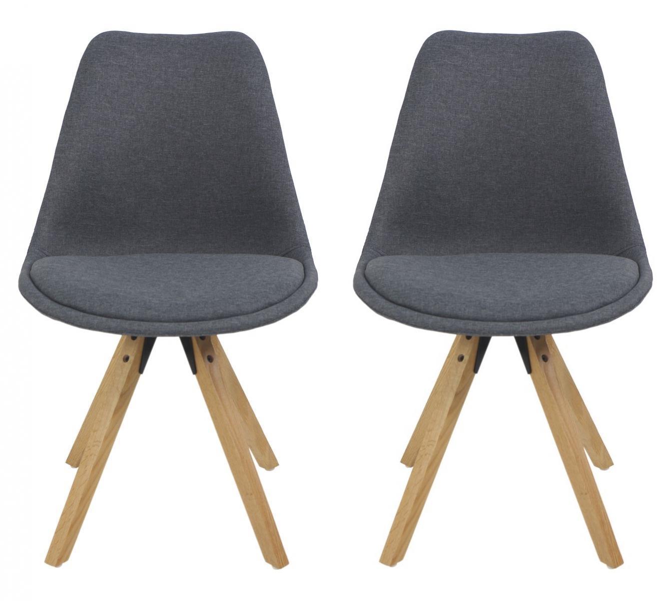 Dwa Krzesła Tapicerowane Szare Z Nogami Drewnianymi I Poduszką