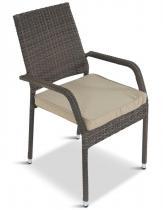 Krzesło tarasowe z poduszką technorattan Lautaro Double Brown