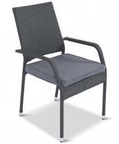 Krzesło ogrodowe z technorattanu Lautaro Anthracite + poduszka