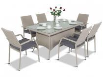 Komplet z technorattanu na taras stół 160cm i 6 krzeseł Lautaro Double Grey