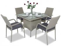 Meble technorattanowe z kwadratowym stołem Lautaro Double Grey 4+1
