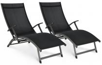 Zestaw składanych Leżaków ogrodowych aluminiowych Relax czarny