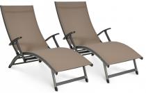 2x Leżak aluminiowy regulowany Relax taupe