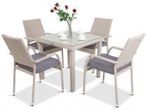 Meble obiadowe 4 krzesła i stół Capitano/Lautaro 4+1 Double Grey
