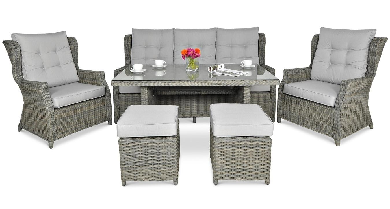 Meble Technorattanowe Trivento Dining 3 Grey Z Pufami