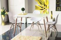 Biały stół na drewnianych nogach 120cm Signal Nolan