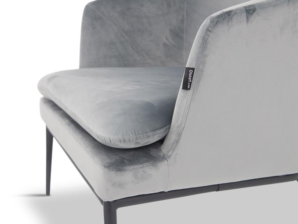 Fotel z podnóżkiem Egersund jasno szary/czarny