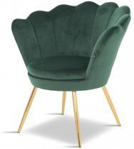 Fotel welurowy muszla Prins zielony/złoty