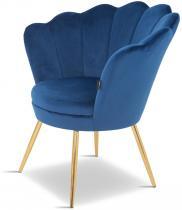 Fotel z aksamitną tapicerką Prins granatowy/złoty