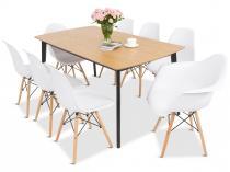 Duży zestaw stół 160 i krzesła 8+1 Magnus Olof Ma II 8