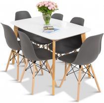 Komplet 6+1 biały stół 120 i szare krzesła Olof Mo I 6