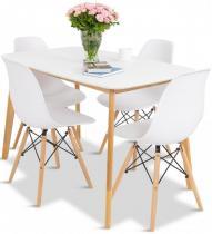 Skandynawski stół 120cm z białymi krzesłami 4+1 Olof Mo I 4