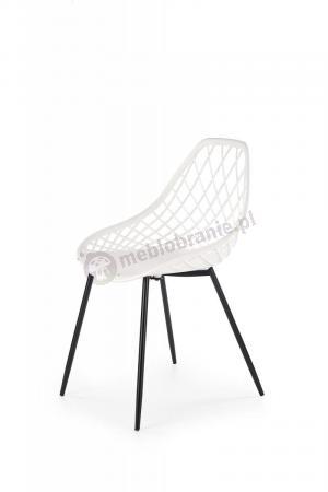 K330 krzesło ażurowe nogi czarne, siedzisko białe