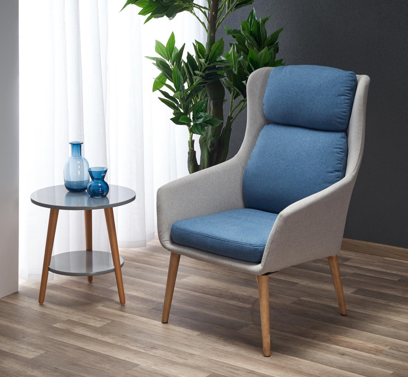 Fotel Purio jasny popiel / niebieski