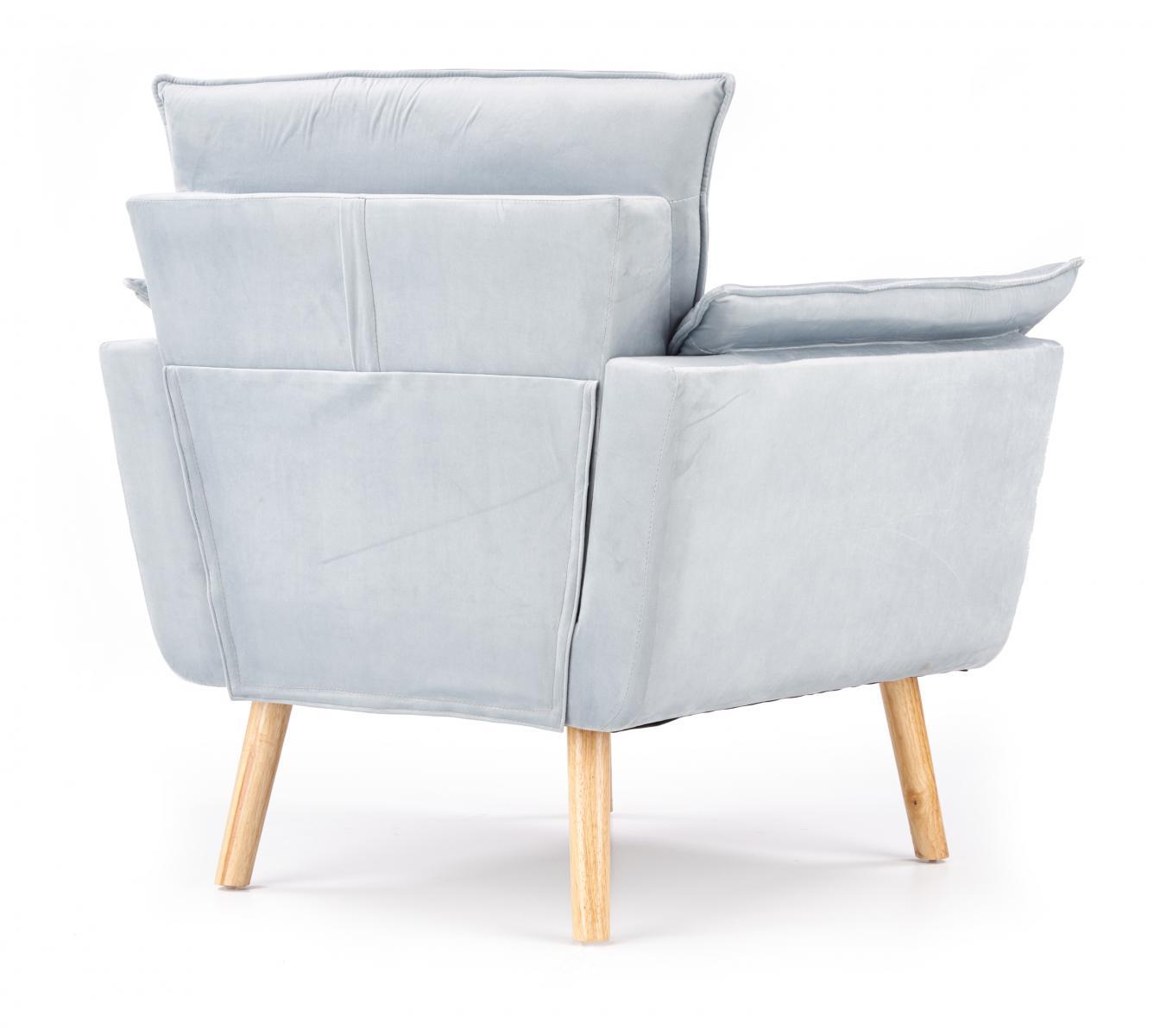 Fotel Rezzo jasnoszary na kauczukowych drewnianych nogach