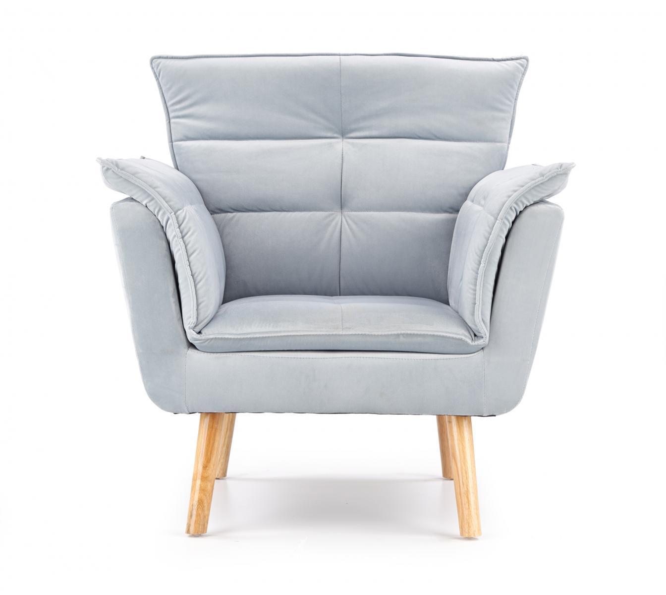 Rezzo fotel jasnoszary na drewnianych nogach