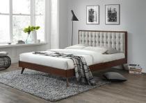 SOLOMO 160 halmar - drewniane łóżko z tapicerowanym zagłówkiem beżowy / orzech