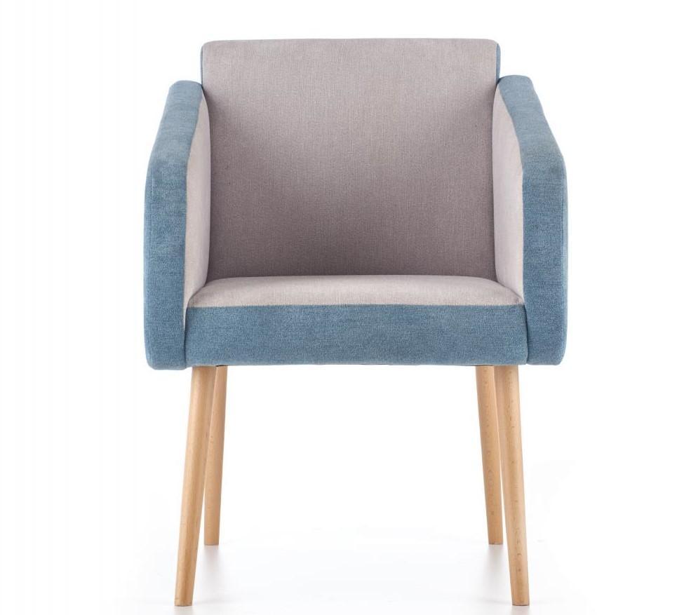 Fotel Well jasnoszary turkusowy na wysokich nogach