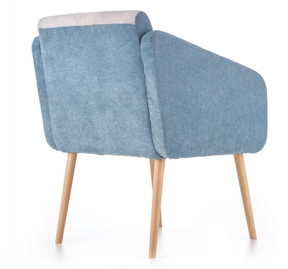Tapicerowany fotel Well na drewnianych nogach