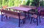 Komplet Mebli Ogrodowych Stal 5DES: stół, ławki, krzesła