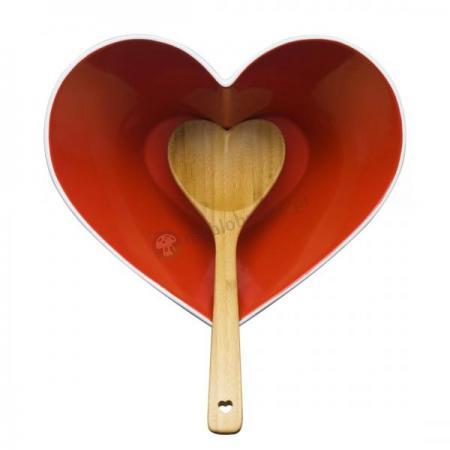 Miska ceramiczna serce z bambusową łyżką Sagaform Christmas