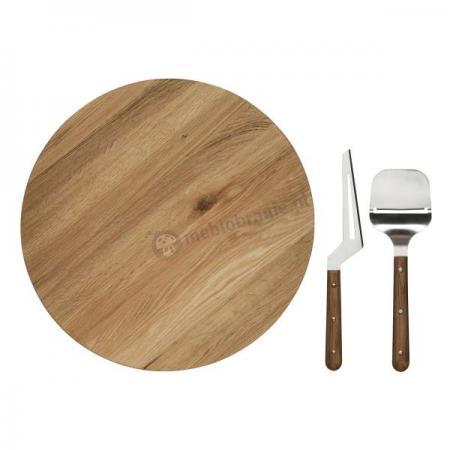 Deska obrotowa, krajacz i nóż do sera Sagaform Oval Oak