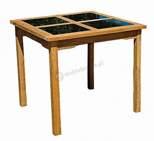 Stół kwadratowy Black - Top (Teak+Granit) ceny