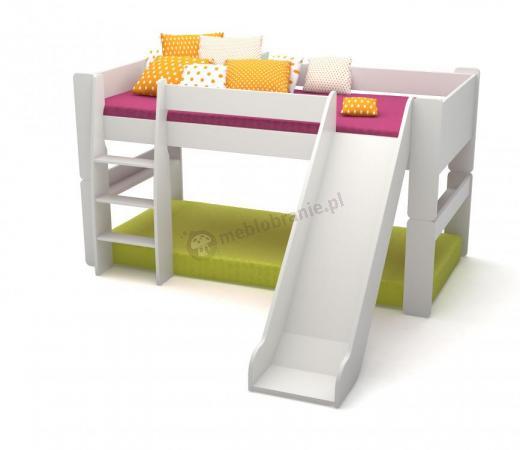 Łóżko na antresoli niskie ze zjeżdzalnią Martin