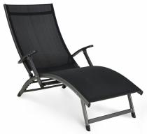 Leżak ogrodowy aluminiowy Relax czarny