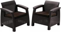 Fotele ogrodowe Corfu Duo Curver brązowy/czekoladowy
