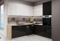 Narożny zestaw mebli kuchennych AKRYLIC 200x220cm / 12 elementów